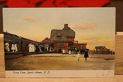 """Train Time"" Beach Haven New Jersey NJ, 1907 Vintage EXECUTION PHOTO COLOR VVHTF"