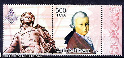 Guine Bissau MNH + Label, Mozart Music classical composer, Statue