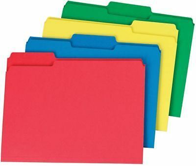 Staples Colored Top-Tab File Folders, 1/3 Cut, Assorted, Letter-Size, 24/Pack
