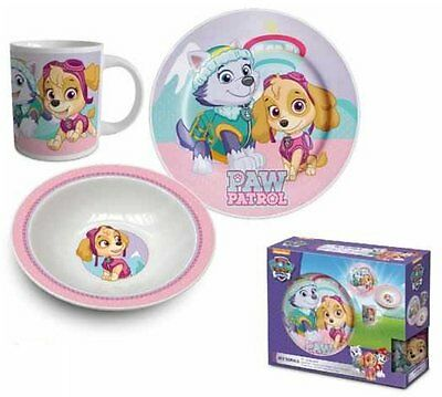 Paw Patrol Three Piece Ceramic Girls Lunch And Dinner Set Pink By BestTrend
