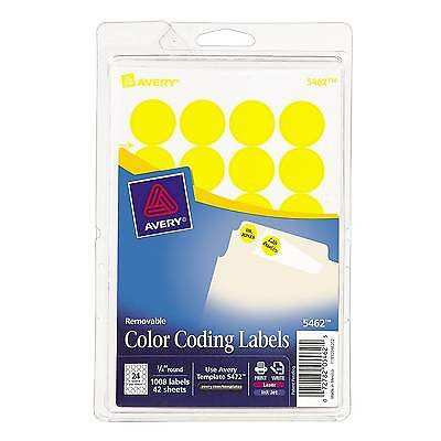 """Avery Round 3/4"""" Diameter Print-and-Write Color Coding Labels, YEL, 1,008/Pk"""