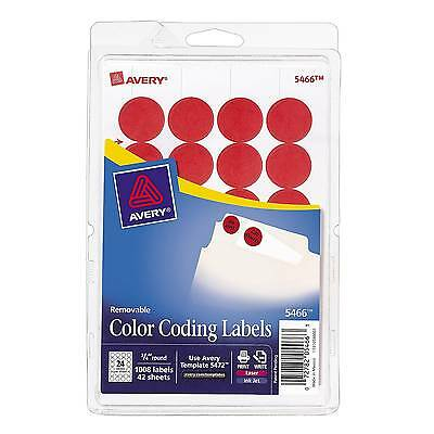 """Avery 3/4"""" Round Print & Write Color-Coding Labels, Red, 1008/Pack (13952/5466)"""