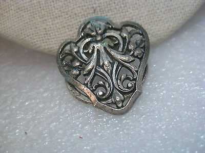 "Vintage Silver Tone Dress Clip, Mid-Century, Floral Scrolled, 1.25"" Shield Shape"