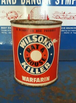 Wilson's Rat & Mouse Killer Warfarin Old Can RARE!!! PAPER LABEL