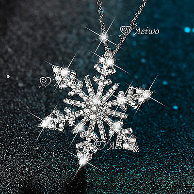18K White Gold Gf Sparkling Clear Crystal Pendant Snowflake Necklace