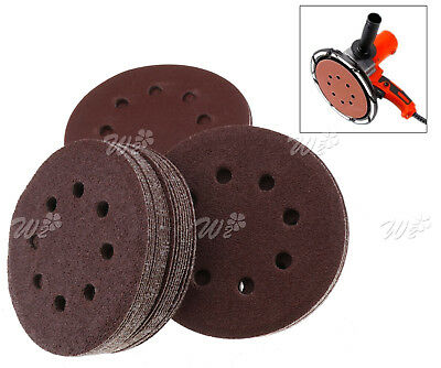 "100pc 125mm - 5"" Sanding Discs 40 60 80 120 240 Mixed Grit Orbital Sander Pad WO"