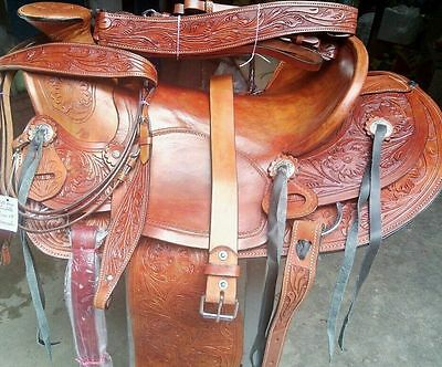 "17""western wade tack rodeo cowboy pleasure leather horse saddle bridle breastplt"