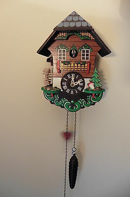 Vintage German Cuckoo Clock with Striking and Moving Mill Whell - working