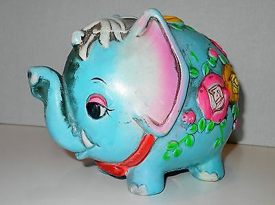 Vtg Psychedelic Turquoise Elephant Flower Chalkware Piggy Bank 1968 Holiday Fair