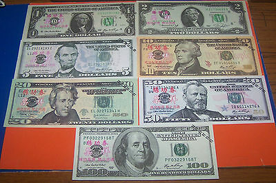 Seven  American Dollar  Bank Note's
