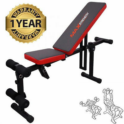 Foldable Flat Incline Fitness Exercise Ab Bench Home Gym Workout Dum