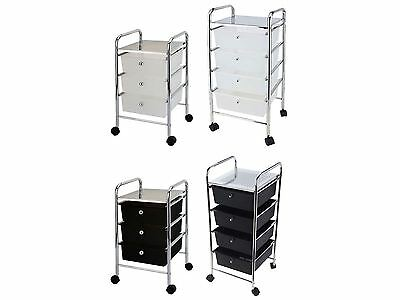 3 4 Drawer Trolley Cart Storage Portable Rack Cabinet Black White Chrome Kitchen