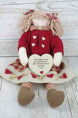 Mum Collectable Rag Doll We Laugh We Cry My Mum Best Friends Mothers Day FD9060C