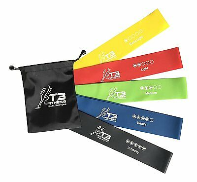 T3 Fitness 5pc Set Of Durable Natural Latex Resistance Exercise Loop Bands 5