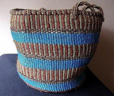 Fair Trade Hand Woven African Market Basket Extra Large With Handle Folk Art