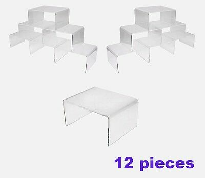 "Lot of 12 High grade Sturdy Acrylic jewelry display riser plinth stand set 4"" W"