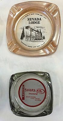 2 Casino AD ASHTRAYS Lake Tahoe LODGE Sahara Nevada gambling south shore slots