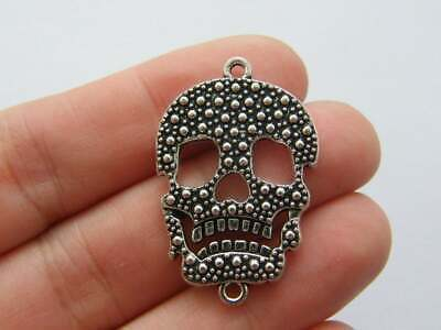 4 Skull Connector Charms Antique Silver Tone SC4076