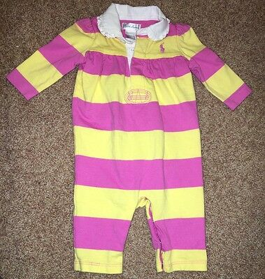 Baby GIRL RALPH LAUREN Pink & Yellow One Piece Striped Outfit Size 3 Months