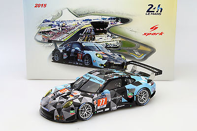 Porsche 911 RSR #77 24h LeMans 2015 Dempsey, Long, Seefried 1:18 Spark