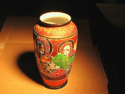 "6"" Gold PAINTED EMBOSSED JAPANESE VASE Porcelain Pottery Made in Japan"