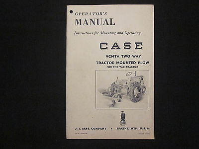 1946 CASE Tractor Mounted Plow Operator's Instruction Manual MINT