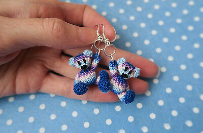 Miniature crochet teddy bear dangle earrings by Lusibear