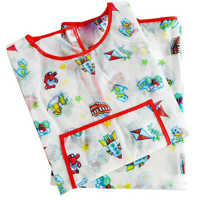 Painting Apron Children's Art Smock Waterproof Long-sleeved Play Aprons Car G2F7