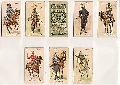 Wills, Australian Issue, SOLDIERS OF THE WORLD, INDIA, 8x Cards, VG/G, 1902