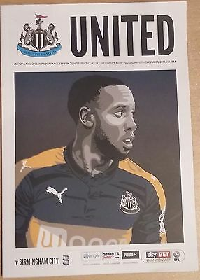 NEWCASTLE UNITED v BIRMINGHAM CITY MATCHDAY PROGRAMME 10/12/2016 *MINT* MAGPIES