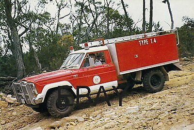 A Jeep 4x4 with The Australian Country Fire Authority Postcard