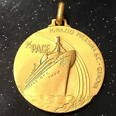Marine Orden Medaille Gold Plated S/S Pace Ignazio Messina & Co Genua Italy 1952