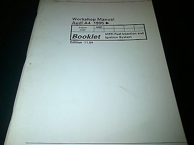 Audi A4 Factory Workshop Manual 1995 onwards MPFI Fuel Injection & ignition