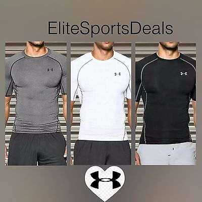 RRP £25 Under Armour Mens HeatGear Short Sleeve Compression Shirt Baselayer Top
