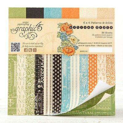 Graphic45: Artisan Style 6x6 Paper Pad - Patterns & Solids