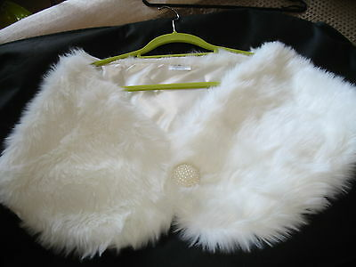 Womens ivory faux fur cape/wrap/shrug