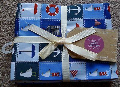 Fat Quarter Red/white/blue 'ahoy' Quilting Nautical Design By The Craft Company