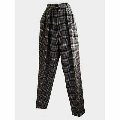BOUTIQUE Vintage 80s Tartan Plaid Wool High Waist Trouser Pants Black White S