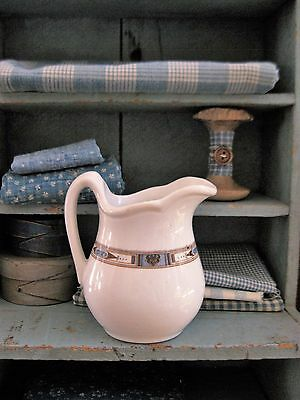 Small Antique White Ironstone Milk Pitcher with Blue and Brown Detail