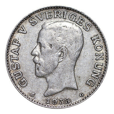 Sweden Silver Coin Gustaf V 1938 1 Krona VF or better