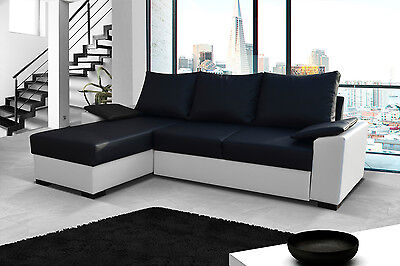 Brand New Fabric Corner Sofa Bed Lusso - Storage Box Left / Right Hand Side