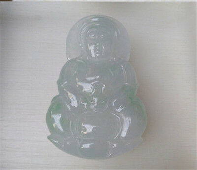 """NEW 100% Natural Certified ice GREEN Jadeite Carved """"观音"""" Jade Pendant """"Grade A"""""""