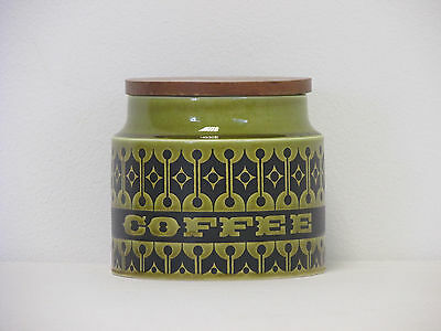 Retro 1980s Hornsea Heirloom Green Small Coffee Storage Jar with Wooden Lid