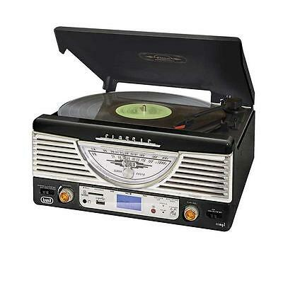 50s STYLE VINTAGE HI-FI RECORD STEREO SYSTEM USB SD MP3 RADIO BUILT-IN SPEAKERS