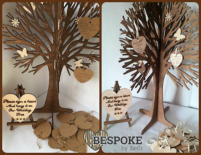Personalised Wooden Wedding Party Guestbook Wish Tree Card & Wooden Hearts Love