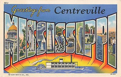 WWII 1939  BIG LETTER, Centreville, Mississippi by Curt Teich