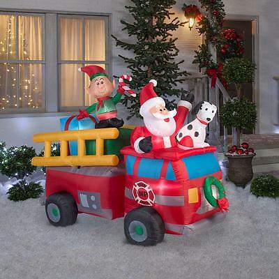 7' Lighted Airblown Inflatable Santa Firetruck Elf Dalmation Outdoor Christmas