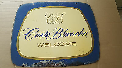 1960's Vintage Carte Blanche Double Sided Metal Sign