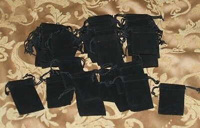 Lot of 48 3 x 2 Black Velvet Drawstring Bags Pouch Gifts Jewelry