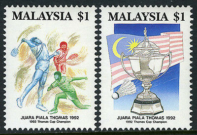 Malaysia 457-458, MNH. Thomas Cup Champions in Badminton. Cup,Flag,Players, 1992